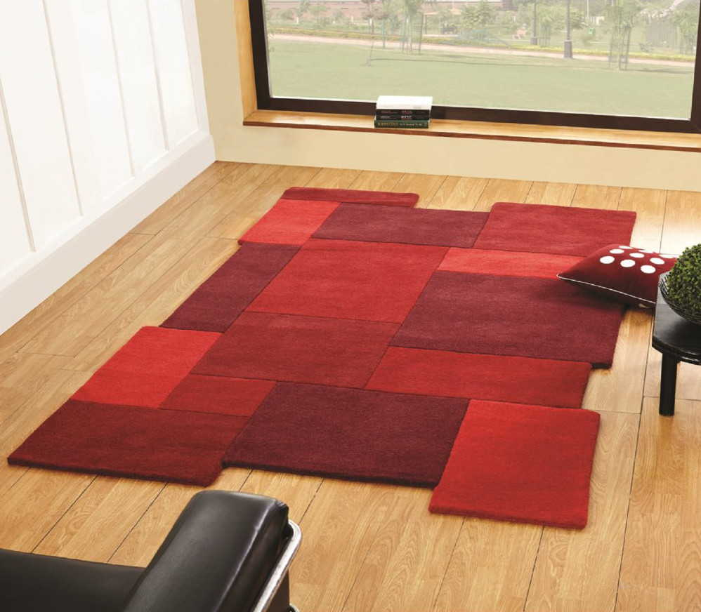 Red 100% Wool Rug Thick Soft Living Room Bedroom House 3 Sizes Flair Rugs Brand