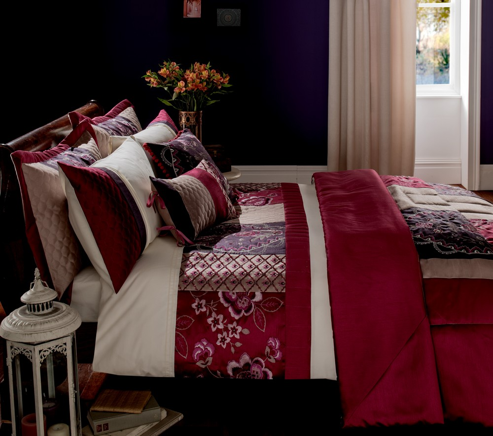 Embroidered King Size Duvet Quilt Cover Set Aubergine Purple Cream