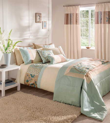 Duck Egg Blue Green Cream Embroidered Patchwork Super King