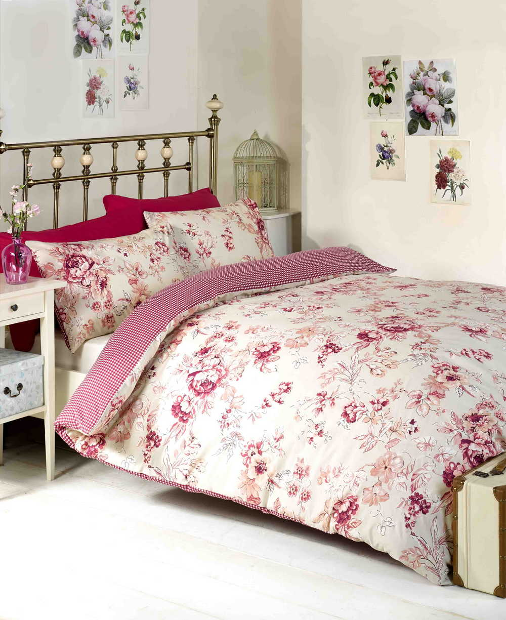 floral housse de couette double king size fleuri linge de lit shabby chic neuf ebay. Black Bedroom Furniture Sets. Home Design Ideas