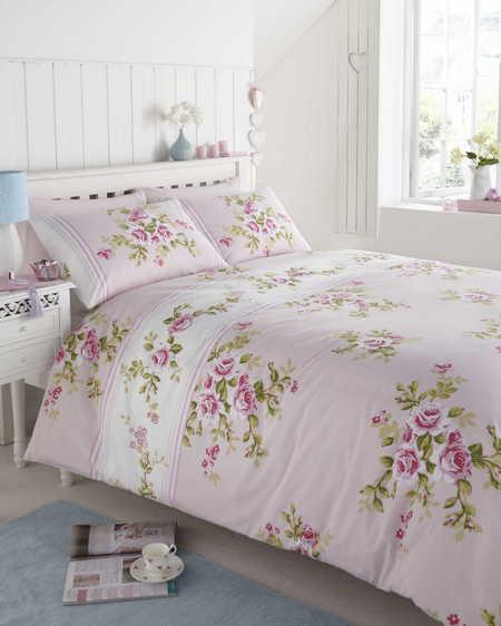 floral housse de couette double king size fleuri linge. Black Bedroom Furniture Sets. Home Design Ideas
