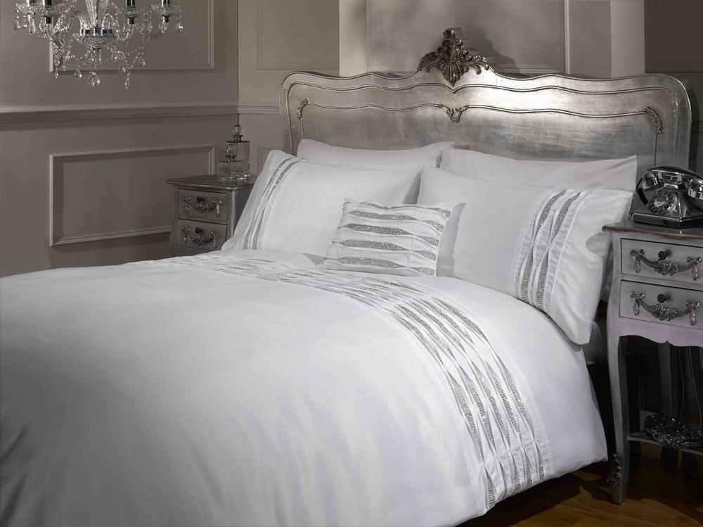 Diamante Detail Duvet Quilt Cover Bed Sets White Silver Black  Sizes