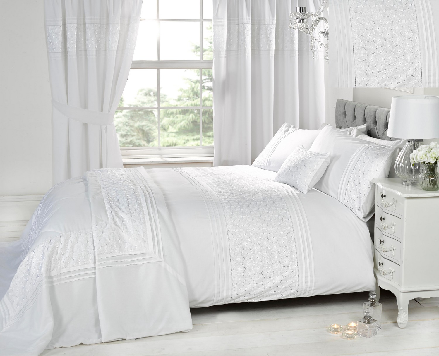 Luxury White Bedding Bed Sets Or Curtains Matching Accessories Embroidered Ebay
