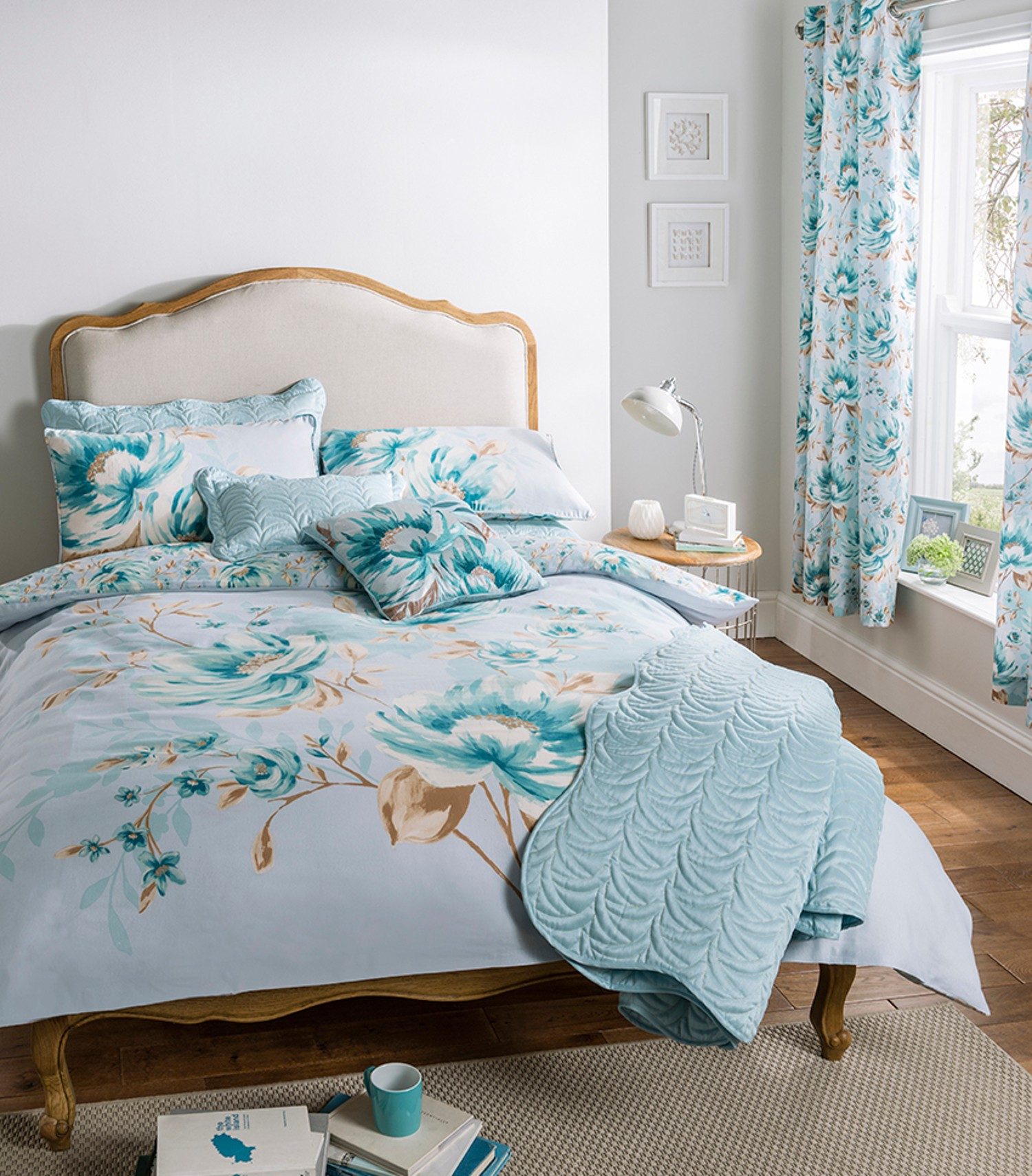 Duck egg blue duvet cover bedding bed set or curtains or for Bedroom curtains and bedding