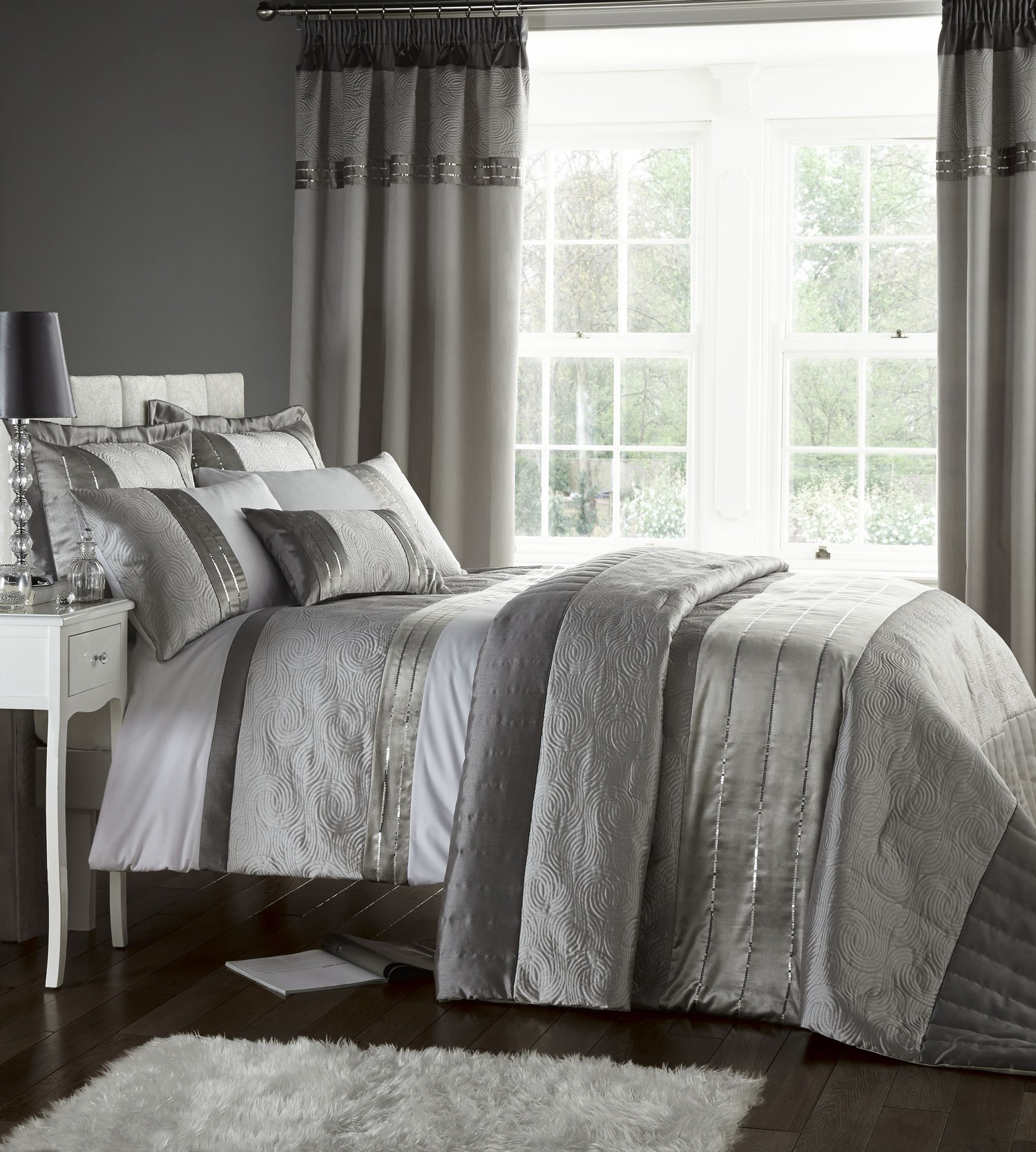 silver grey luxury duvet quilt cover bedding bed set or curtains or bedspread ebay. Black Bedroom Furniture Sets. Home Design Ideas