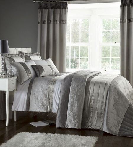 ... Grey Luxury Duvet Quilt Cover Bedding Bed Set OR Curtains OR Bedspread