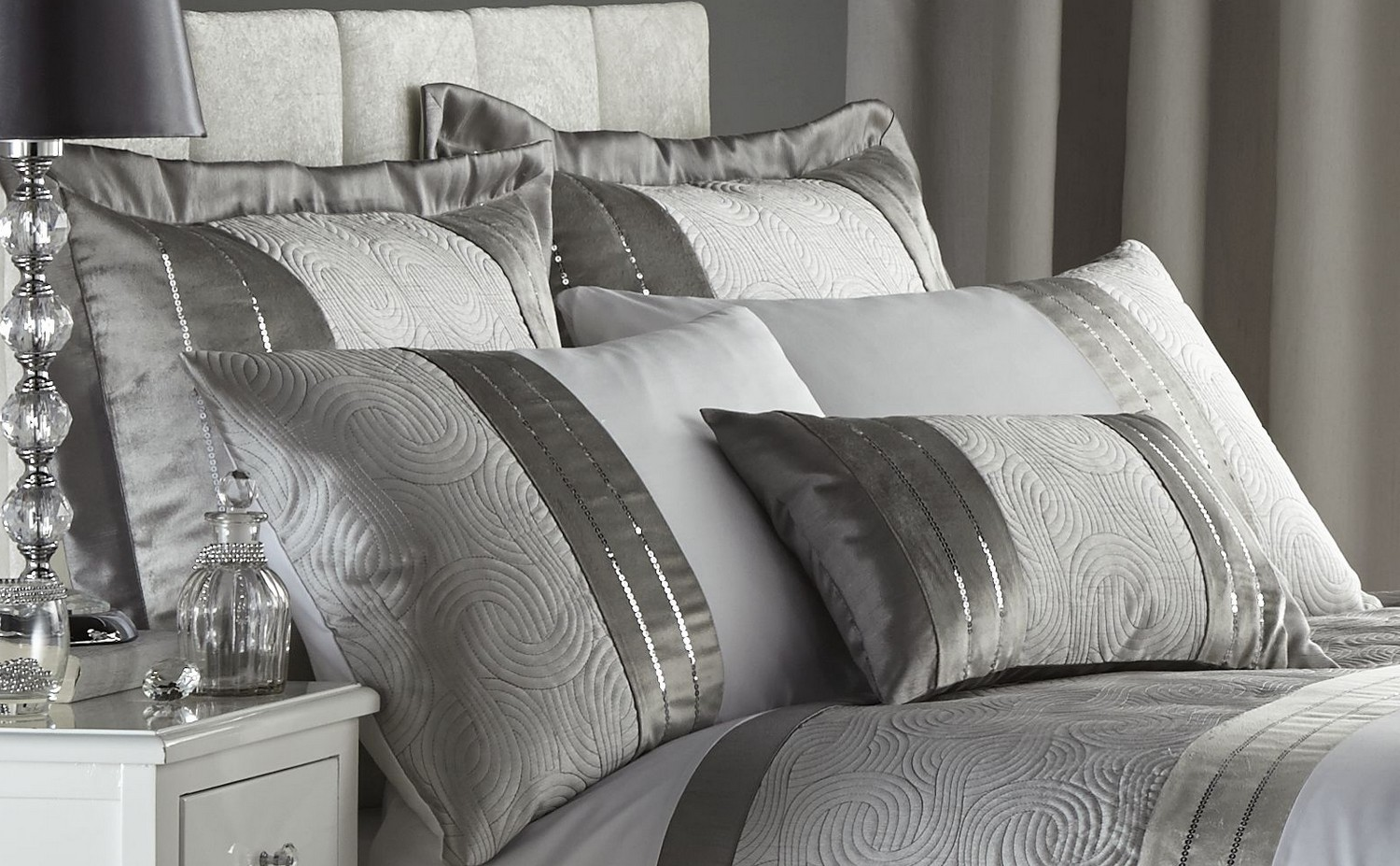 silver grey luxury duvet quilt cover bedding bed set or curtains  - silvergreyluxuryduvetquiltcoverbeddingbed