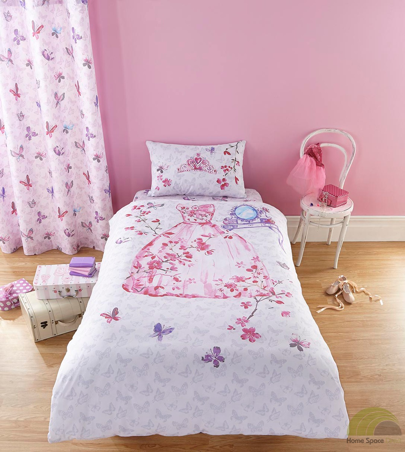 Girls Princess Single Duvet Cover Bed Set Or Curtains Pink
