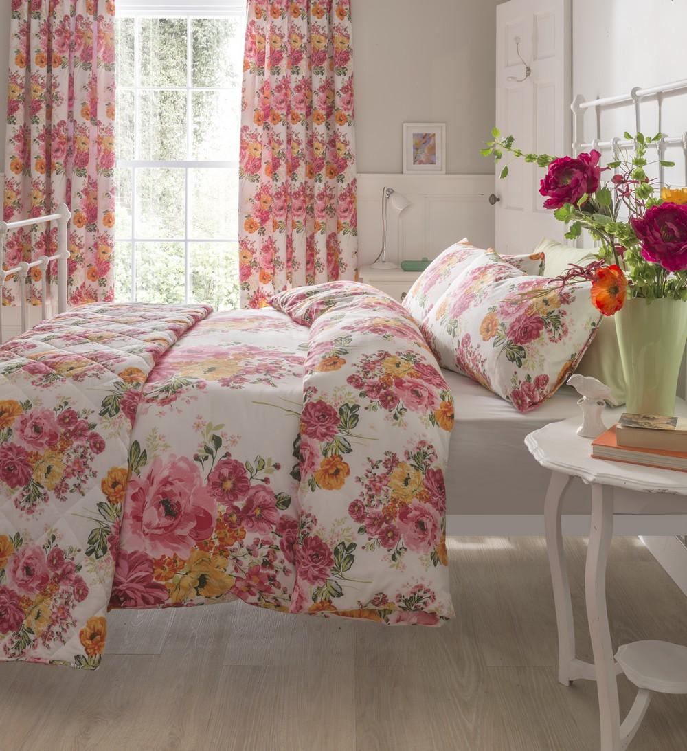 Floral housse de couette double king size fleuri linge de lit shabby chic neuf ebay - Housse de couette king size ...