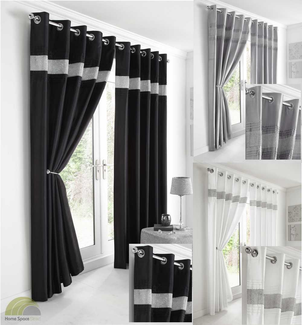 Faux Silk Diamante Curtains Eyelet Ring Top Lined 3 Colours ...