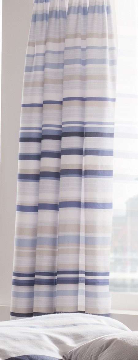 Blue Grey White Striped 66x72 Inch Catherine Lansfield Pencil Pleat Curtains Ebay