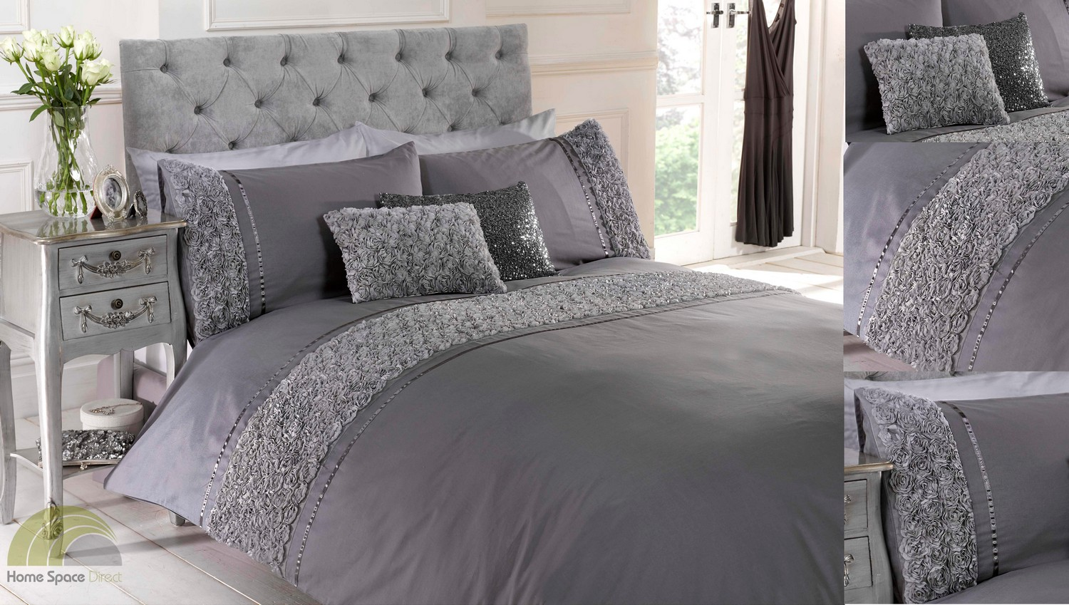 Grey Silver Raised Rose Duvet Quilt Cover Bed Set Bedding