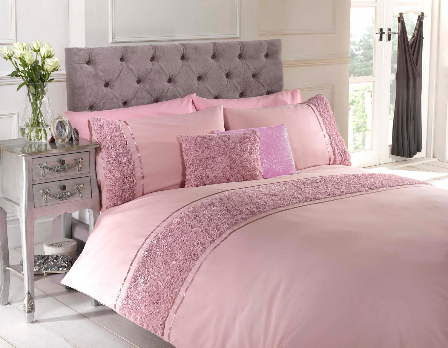 Dusky Pink Raised Rose Duvet Quilt Cover Bed Set Bedding 4 Sizes Or Cushion