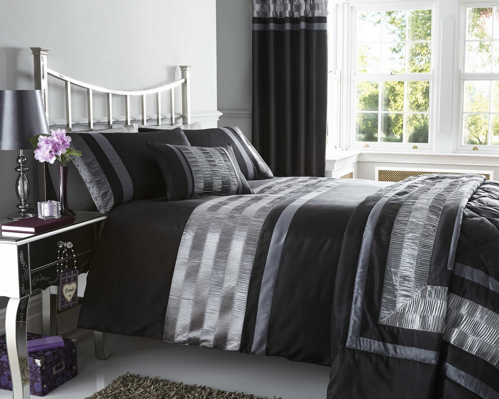Black Faux Silk Duvet Quilt Cover Bed Set Throw Cushion