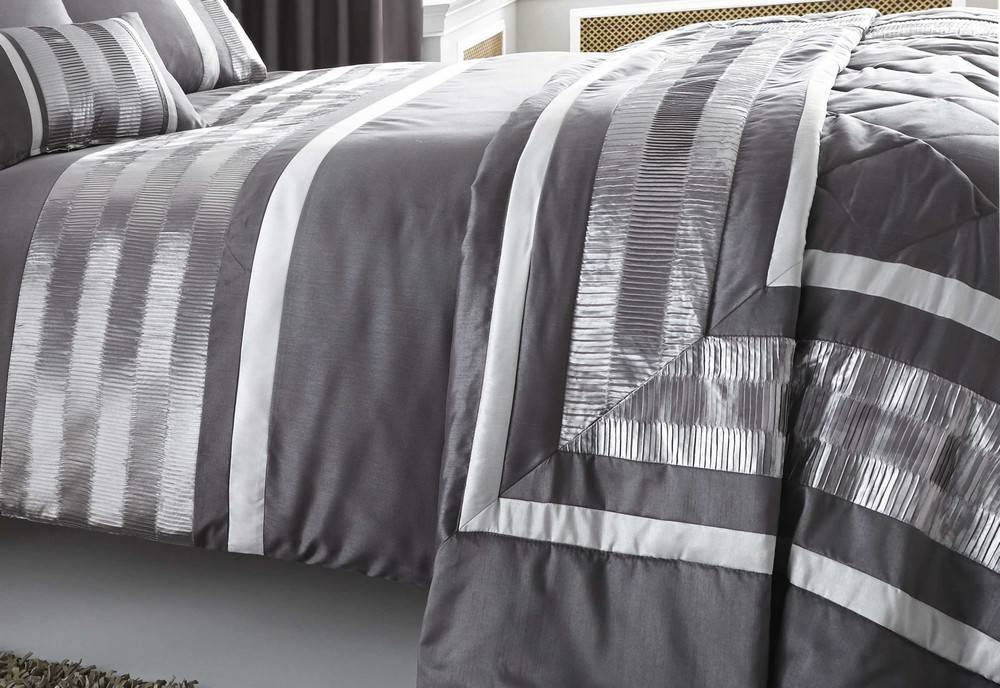 Grey Double Bed Covers : Grey faux silk duvet quilt cover bed set throw cushion