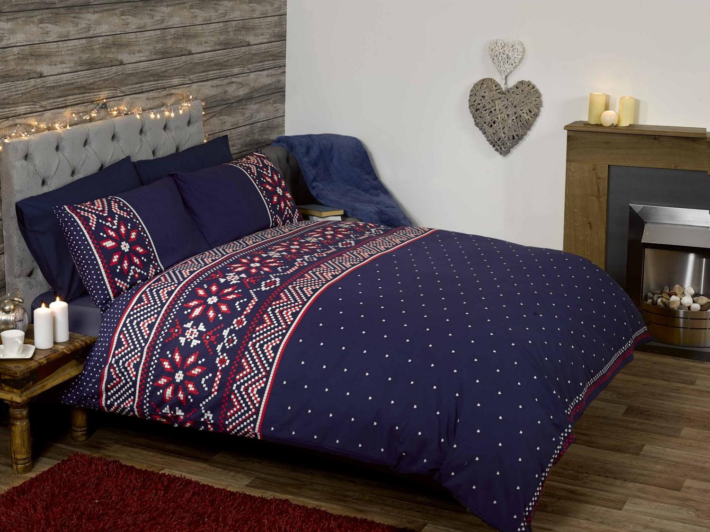 nordic blue white red quilt duvet cover bedding bed set 3. Black Bedroom Furniture Sets. Home Design Ideas