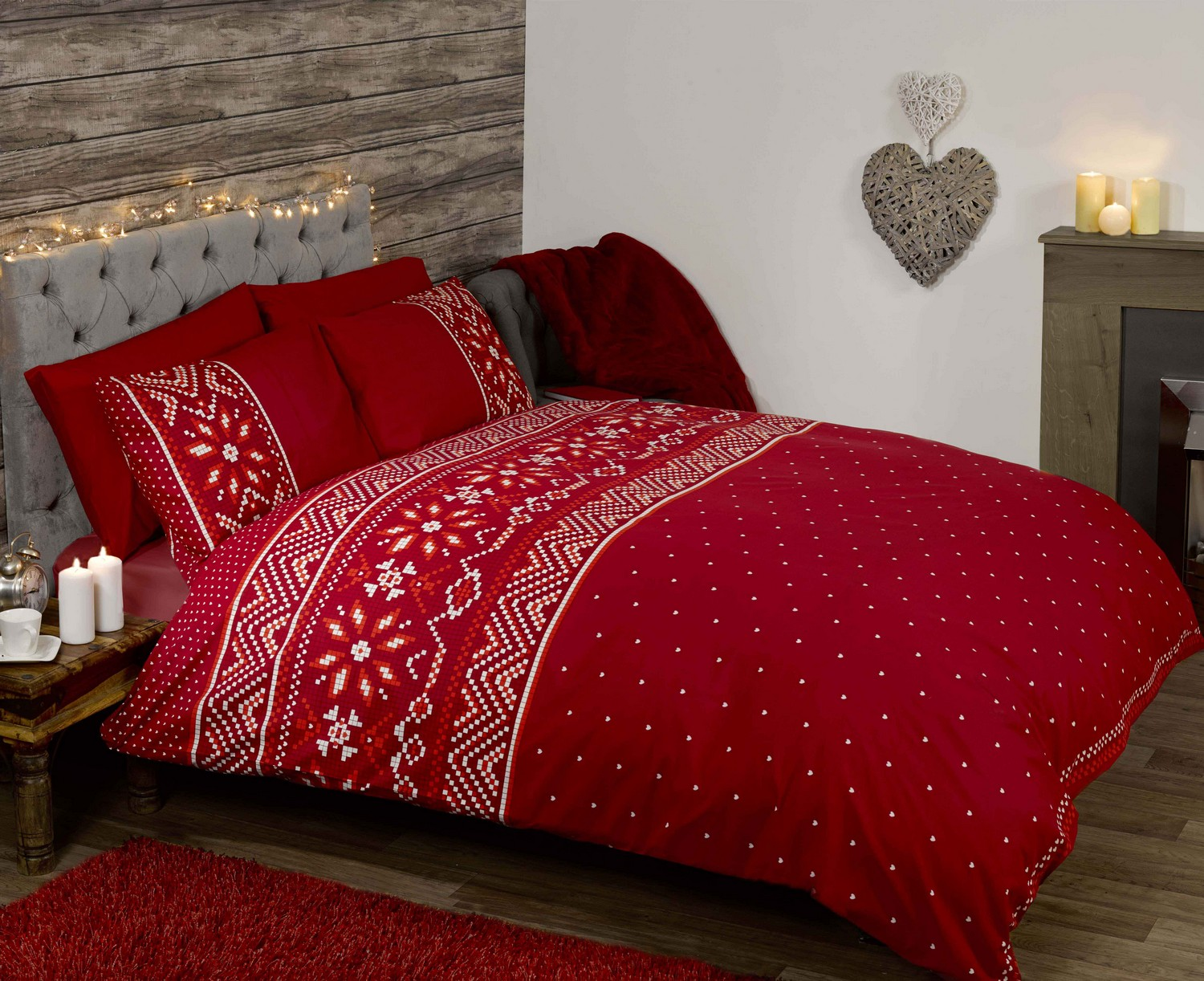 White and red bed sheets - Nordic White Red Love Hearts Quilt Duvet Cover Bedding Bed Set 3 Sizes New