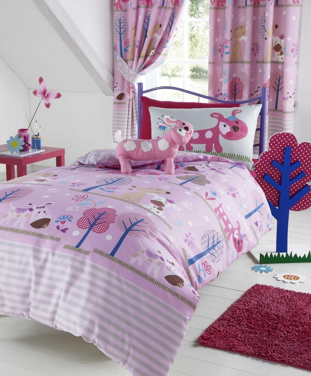 Girls Pink Pooch Puppy Dog Duvet Cover Set Bedding