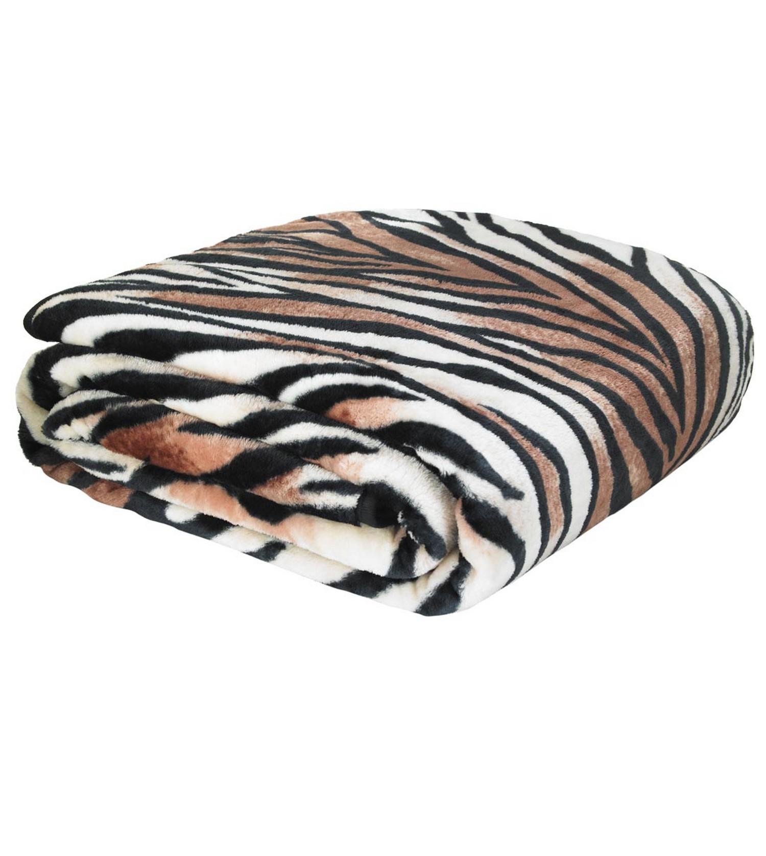Faux Fur Animal Print Throws Blankets Raschel Warm Soft