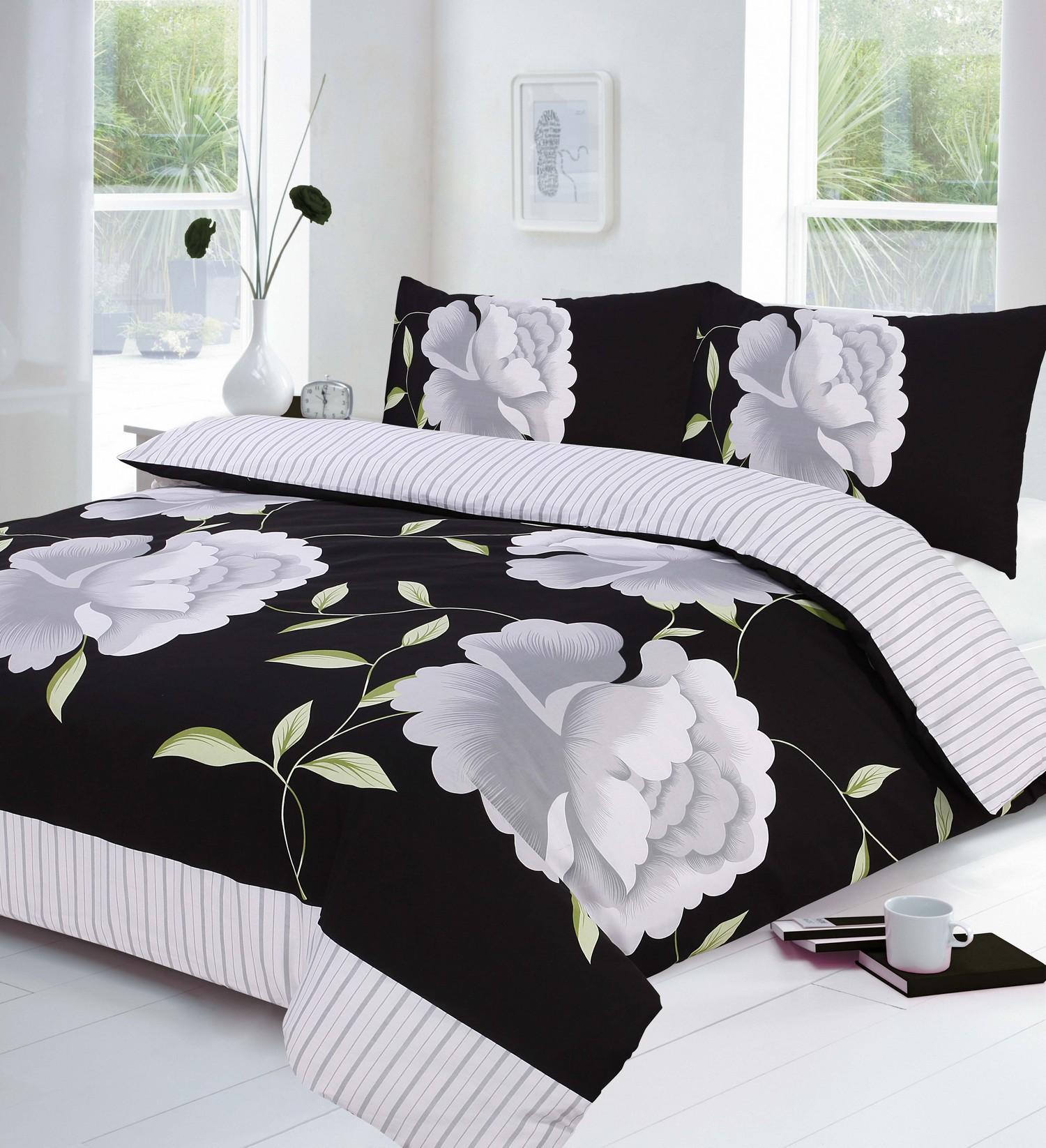 floral black grey white duvet quilt cover p case bedding bed sets polycotton ebay. Black Bedroom Furniture Sets. Home Design Ideas