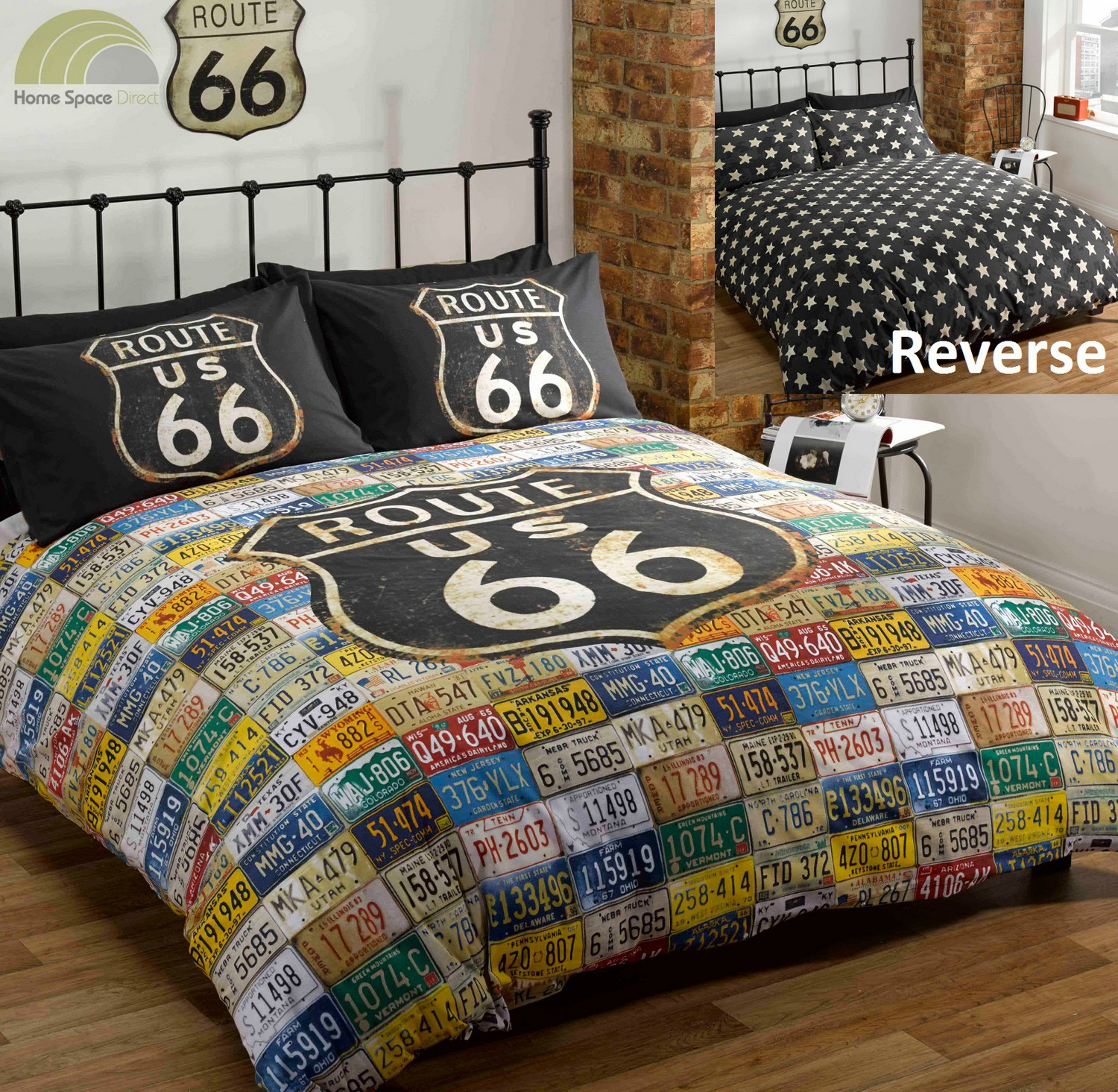 route 66 quilt duvet cover bed set distressed vintage. Black Bedroom Furniture Sets. Home Design Ideas