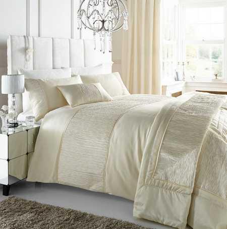 Cream King Size Duvet Cover Amp Pillowcases Set With Crinkle