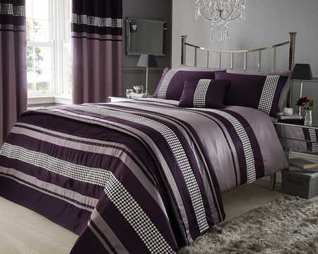 Super King Plum Purple Metallic Effect Detail Quilt Duvet
