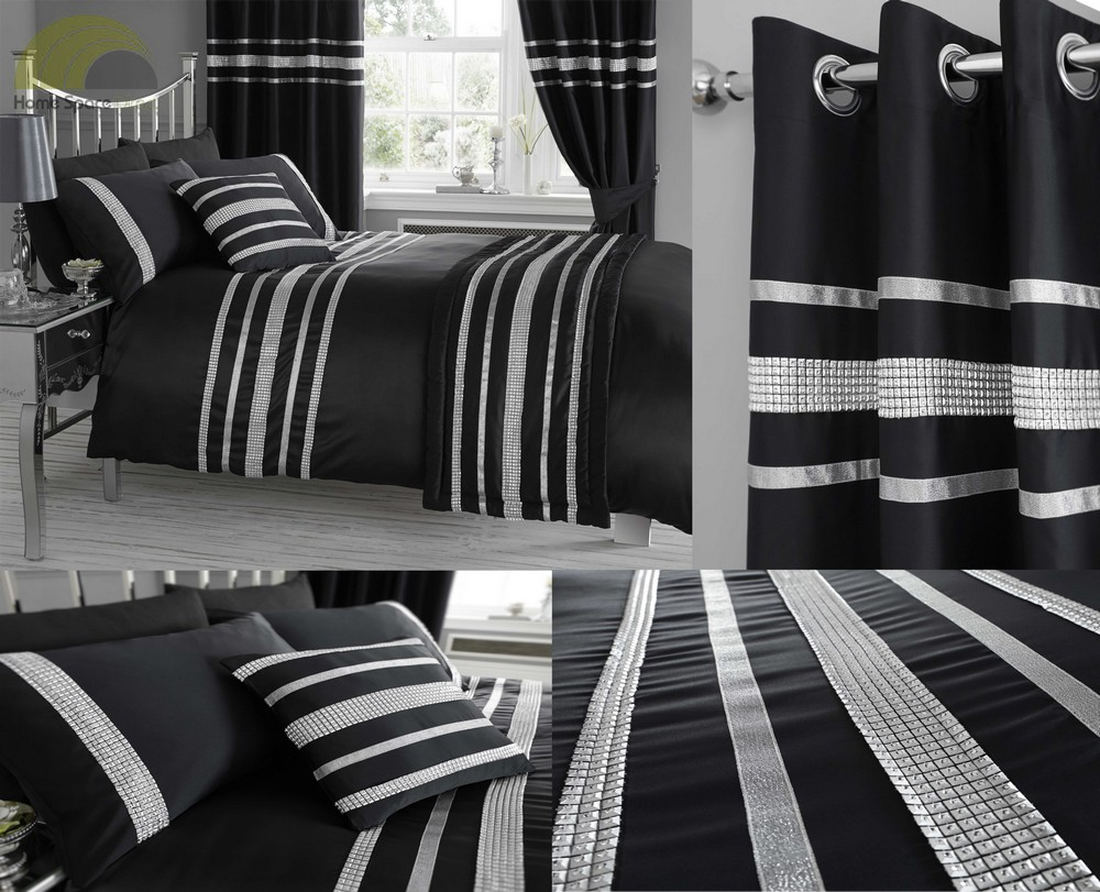super king size noir housse de couette satin strass couette literie ensemble de lit. Black Bedroom Furniture Sets. Home Design Ideas