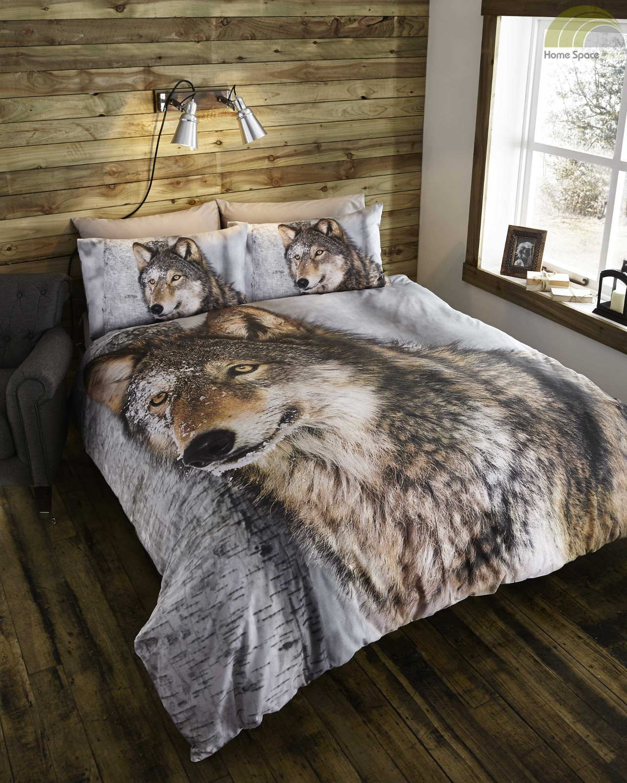 brown wolf duvet cover pillowcase s bedding bed set animal photo print ebay. Black Bedroom Furniture Sets. Home Design Ideas