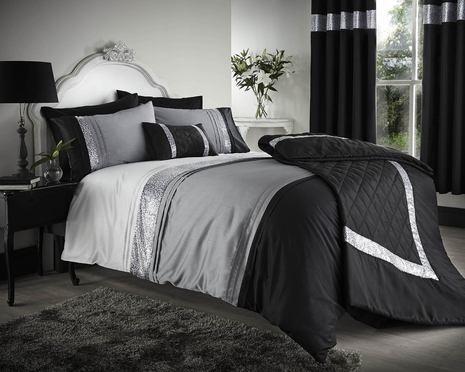 black grey silver duvet covers bedding bed set double king or super king ebay. Black Bedroom Furniture Sets. Home Design Ideas